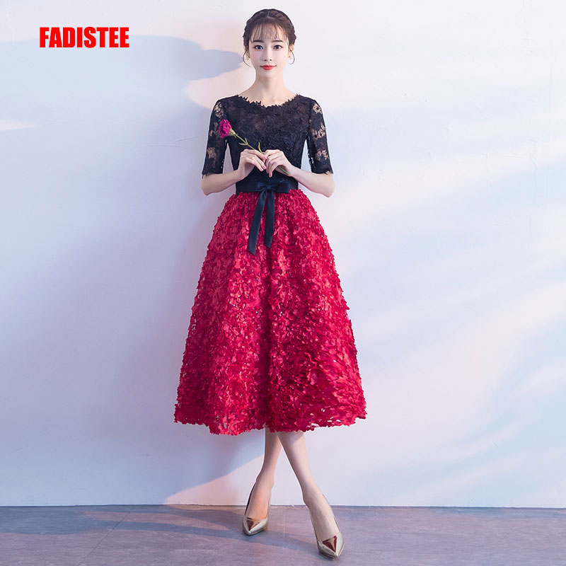 Detail Feedback Questions about FADISTEE New arrival elegant evening party  prom dresses Vestido de Festa gown A line satin Robe De Soiree half lace  sleeves ... 0d754155e306