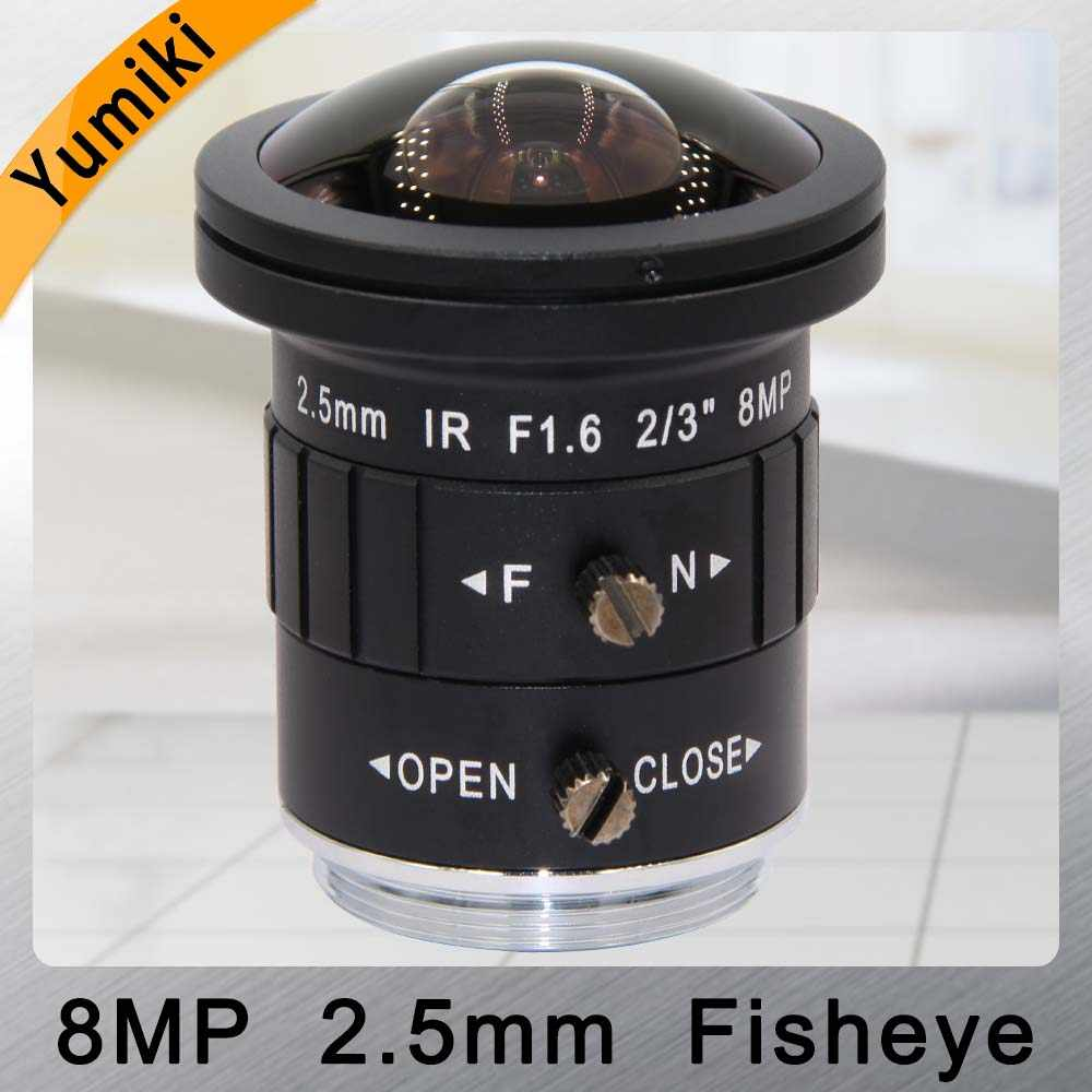 "Yumiki 2.5mm 4K 8MP 2/3"" F1.6 IR Fisheye Wide Angle View CS Mount Mono-focal CCTV Lens Auto Iris 8 Megapixel for CCTV 4K Camera"