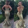 DressesRose YED17 Сексуальная Русалка Щелевая/Открытое Дно Блесток Золото Вечернее Платье Vestidos de Fiesta 2016
