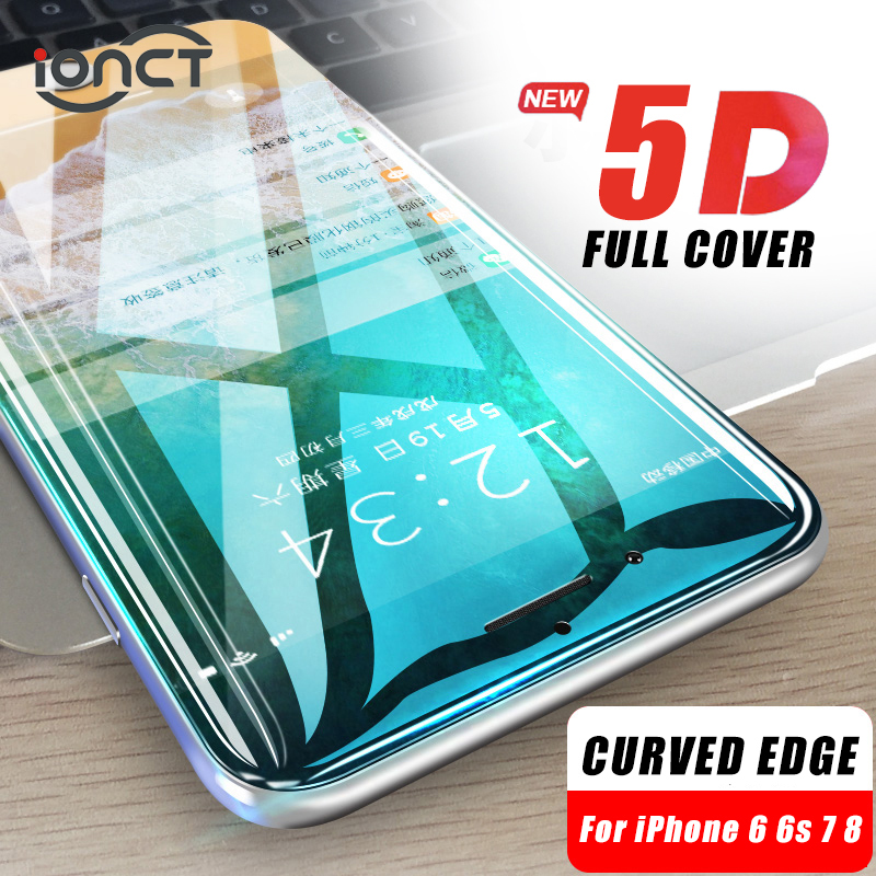 1402bd07bae iONCT 5D borde curvado protector de cristal templado para el iPhone 7 6s 8 6  plus vidrio 9H protector pantalla iphone 6 7 8 Cubierta completa