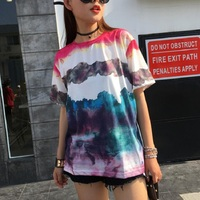 Tie Dye T Shirt Summer Women S Colorful Painting Abstract Gradient Color Tops Round Neck Short
