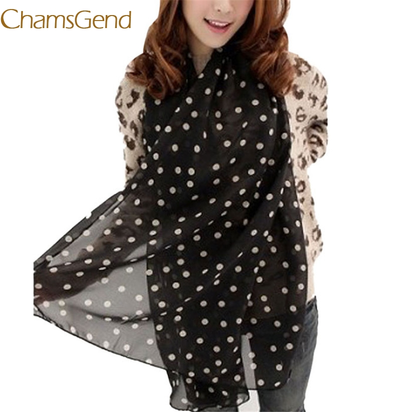 Chamsgend Newly Design Stylish Girl Long Soft Silk Chiffon   Scarf     Wrap   Polka Dot Shawl Scarve For Women May18 Drop Shipping