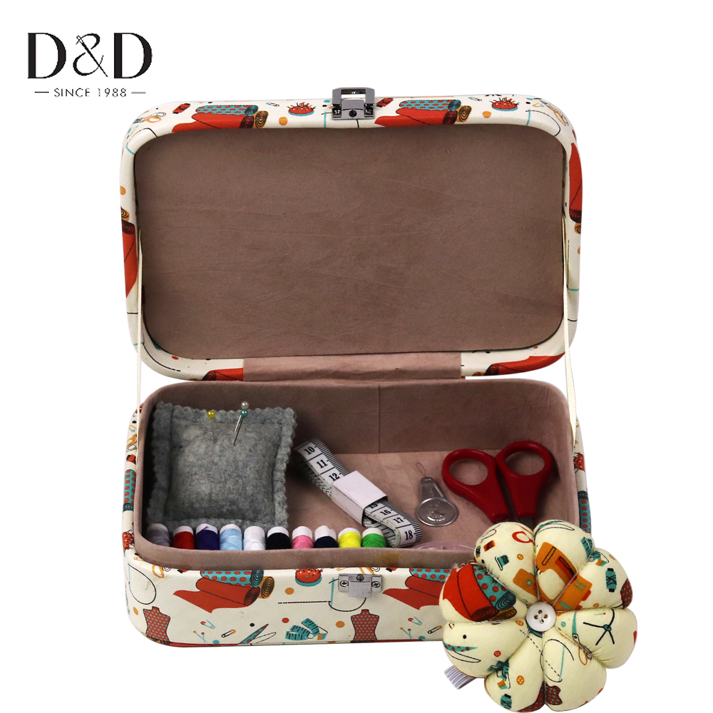 D&D Multifunction Artificial Leather Sewing Kit Sewing Box Portable Scissor Thread Stitches Needle Sets Home Tools Organizer Box