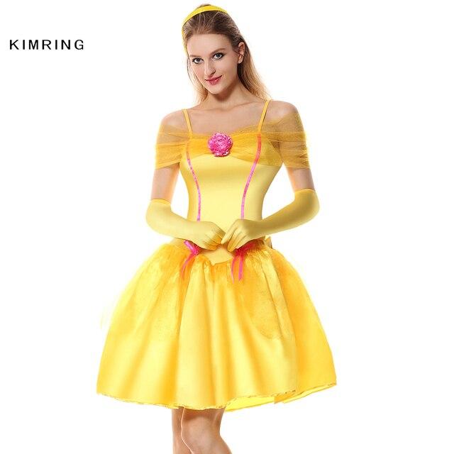 a0f6a9d59f Kimring Belle Princess Halloween Costume Women Maid Fantasia Masquerade  Halloween Adult Christmas Costume Fancy Dress