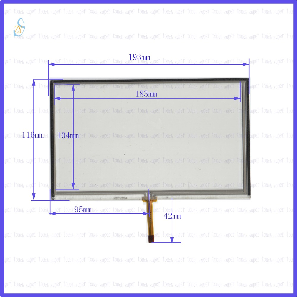 ZhiYuSun  193mm*116mm KDT-5264  8inch Touch Screen glass  resistive USB touch panel overlay kit  193*116 TOUCH SCREEN 98 inch monitor ir touch screen 2 points infrared touch screen panel ir touch screen frame overlay with usb