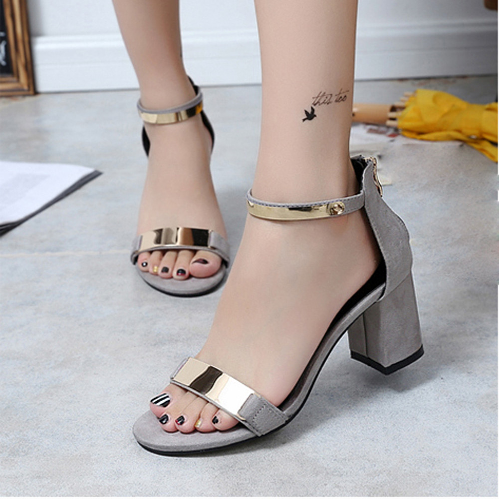Summer Sandals Open Toe Women Sandles Thick Heel Shoes Gladiator Shoes