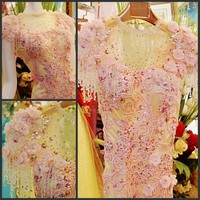 2014 New Design Real Picture Sheath High Neck Floor Length Crystal Beaded Sexy Kaftan Evening Dresses