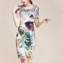 Female OL summer plus size Short O-neck Print Knee-length silm 100% silk dresses lady hedging 100% slim silk dress D12