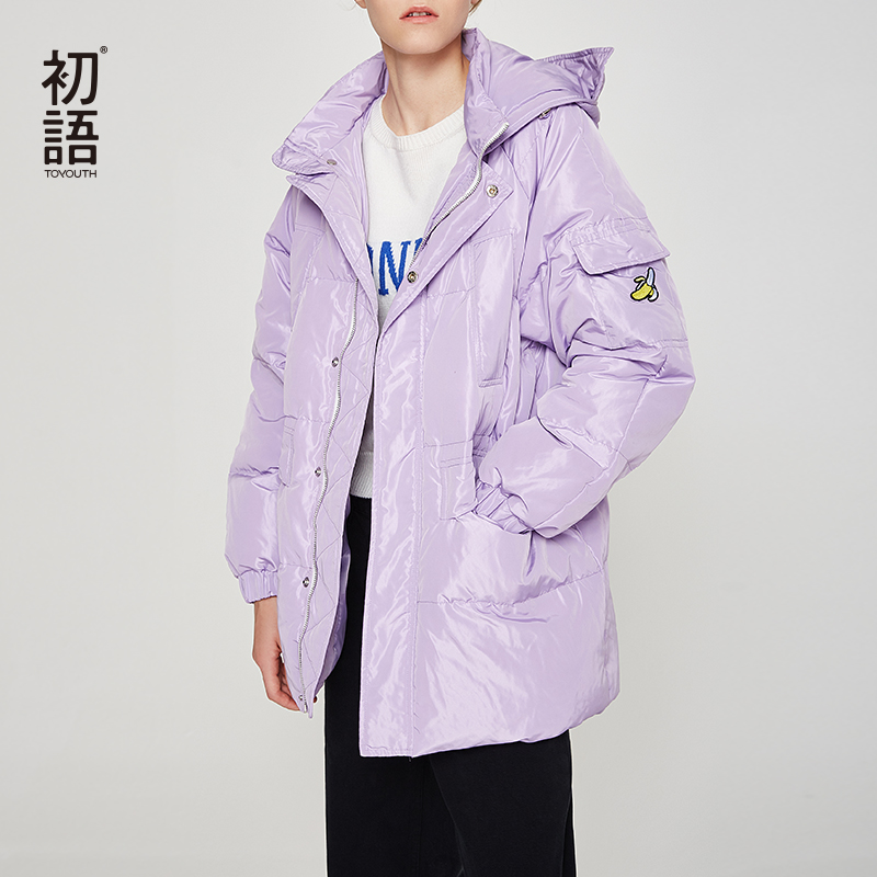 Toyouth Solid Casual Women Duck Down Coats Hooded Single Breasted Coat Loose Down Jacket Woman Hooded
