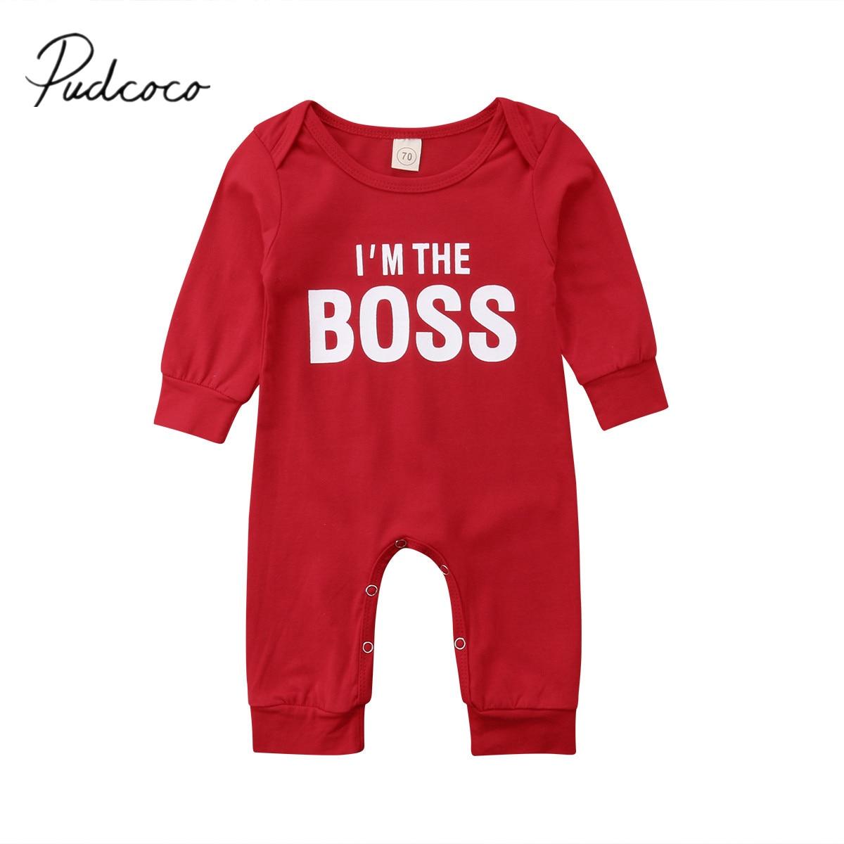 2018 Marke Neue Neugeborenen Baby Mädchen Jungen Schöne Strampler Langarm Brief Drucken Baumwolle Rot Overalls Overall Outfit 0 -24 Mt