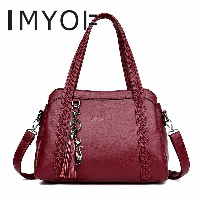943c72f59d92 Large capacity pocket High Quality Leather Handbag Designer Cute Cat Tassel  Tote Luxury Spiraea Women Shoulder