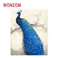 WONZOM Bird Painting By Numbers Abstract Animal Oil Cuadros Decoracion Blue Peacock Acrylic Paint On Canvas Modern Art