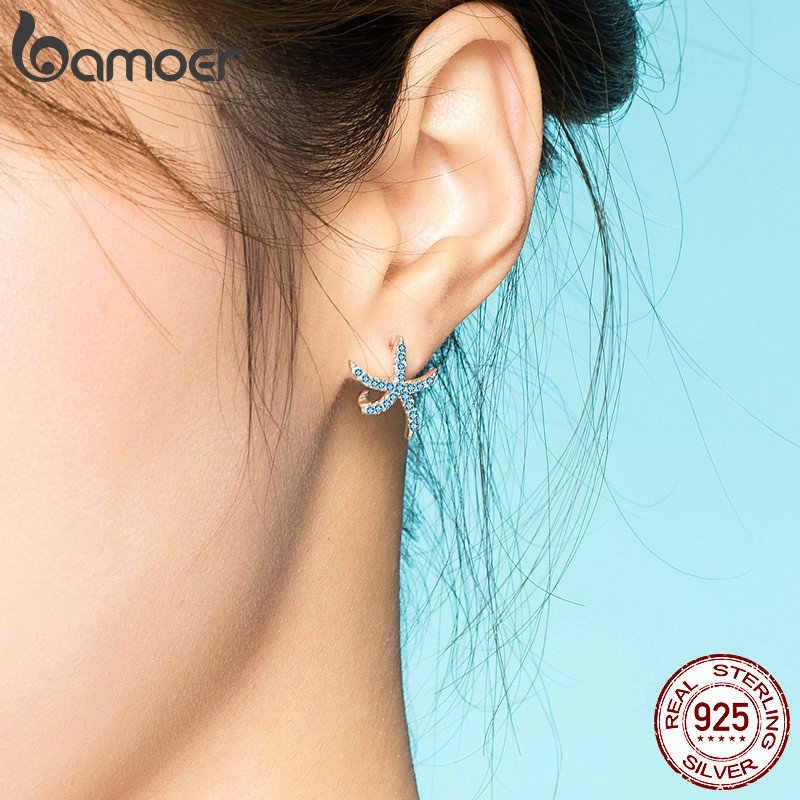 Bamoer نجم البحر وأقراط للنساء حقيقية 925 فضة الأزياء الأزرق الخواتم ترصيع الكورية تصميم مجوهرات BSE136