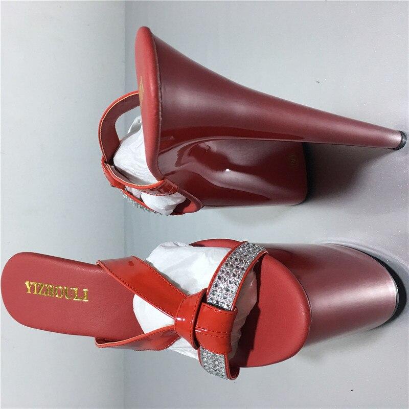 Fait Talonnettes Pantoufles Magnifique La Main Blanc Mariage Des 8 Inhabituel forme Hauts Pouce Femmes À Rouge Cm Strass Plate De Chaussures Talons 20 5TqwOgqx