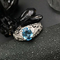Vintage anillo de plata nuevo anillo de topacio azul natural real 925 plata esterlina sólida joya joyería para mujer de moda nupcial anillo