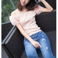 Pantalon Lace tshirt women white pink button slash neck cotton harajuku tshirt magliette donna camisetas verano mujer 2019