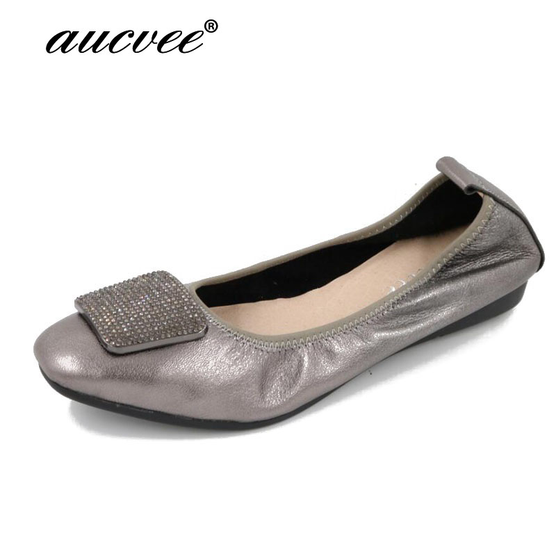 AUVCEE Brand Genuine Leather Ballet Flats Women Flat Shoes Brand Woman Soft Heel Ballerina Flats Rhinestone Lady Loafers F268 2018 new genuine leather flat shoes woman ballet flats loafers cowhide flexible spring casual shoes women flats women shoes k726