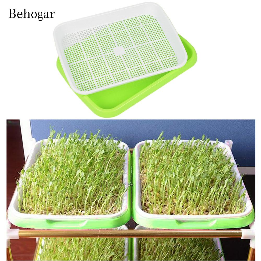 Behogar двойной Слои гидропоники рассады Sprouter лоток-питомник завод прорастание лотки корзинка-тарелка для дома зеленый инструменты для работы...