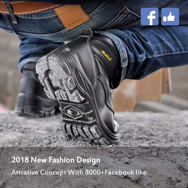 75c5cdf593 Safetoe Couro Nobuck Biqueira de Aço Calçados de Segurança Botas De Trabalho  Homens Respirável Tamanho REINO UNIDO 2-13 Pedestrianismo Resistente À  Abrasão ...