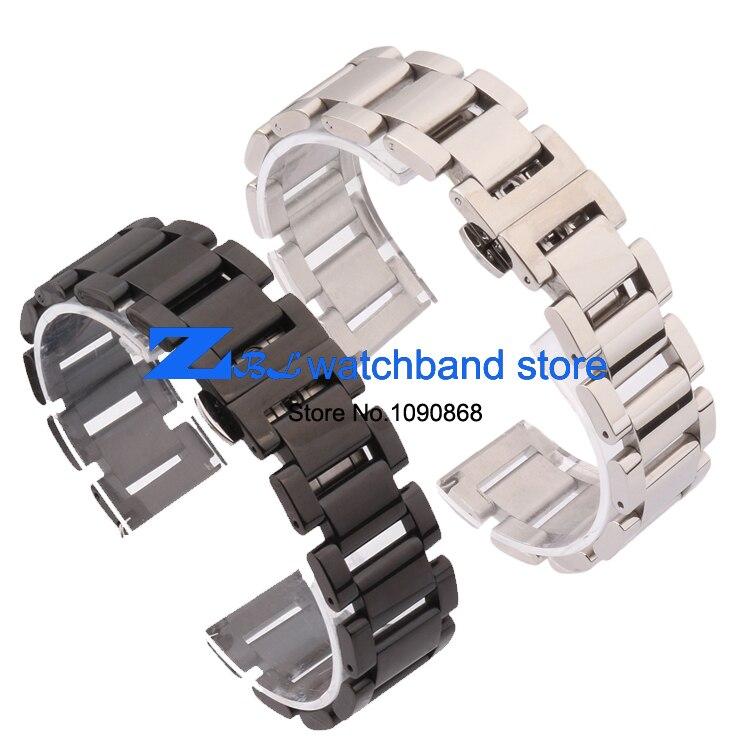 00dbd7579 الصلب المقاوم للصدأ watchband عرض الفرقة فراشة مشبك معدني أسود الفضة 18  ملليمتر 20 ملليمتر 21 ملليمتر 22 ملليمتر المعصم
