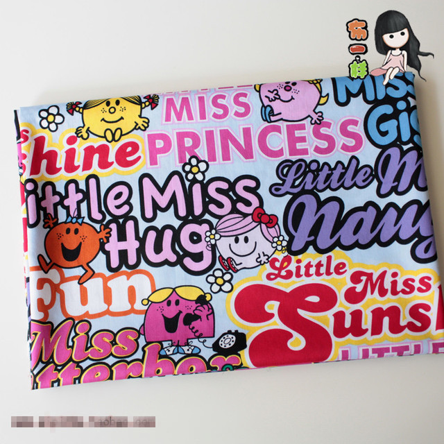 US $13 59  100X145CM Kawaii Little Miss Lucky Giggle Naughty Fun Hug Emoji  Cotton Cartoon Fabrics Child DIY Handmade Material Sewing Fabric-in Fabric