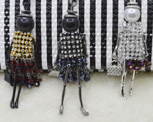 2017 New Arrival the grid yarn Dress Doll Pendants Necklace hot sale Sweater chain or bag charms,winter dress doll(China (Mainland))