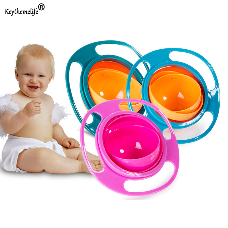 Keythemelife Baby Feeding Learning Dishes Bowl Assist Toddler Baby Food Dinnerware For Kids Eating Training Gyro Bowl 0B
