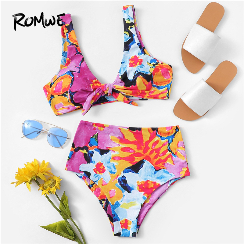 Romwe Sport Floral Print Wireless Bikini Top And High Waist Bottoms Two-Pieces Suit Women Knot Front Swimming Pool Swimwear