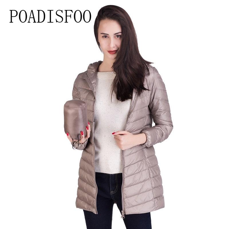 POADISFOO Winter Womens White Dark Down Jacket 90% Dark Down Slim Body Light Clothes Women Down travel Hooded clothes AML-01