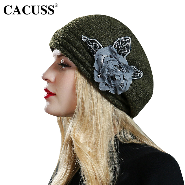 a8e7480e589 CACUSS Elegant Floral Fedoras Women Caps Party Berets England Type Female  Warm Bucket Wool Hats Hot Sale