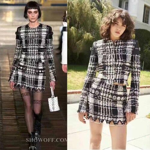 b47a7b0112c0 Элегантный пиджак и юбка набор, удивительные твид двух частей набор, шерсть  урожай топ и