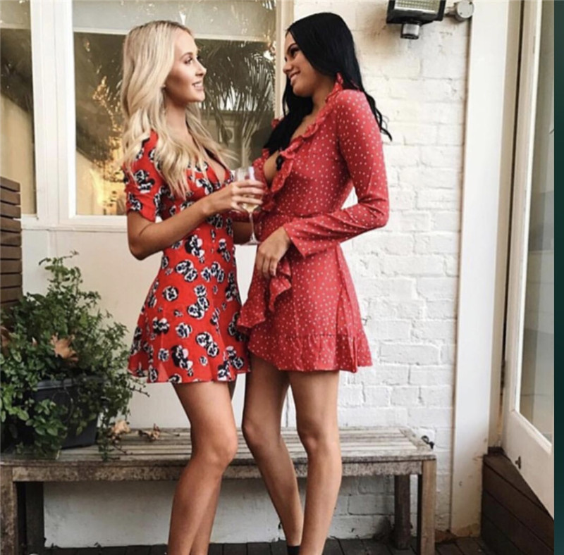 Sexy Mignon Mini Robe Courtes Fleur Femmes Cou Imprimer Rouge V Manches 8XPwn0ONkZ