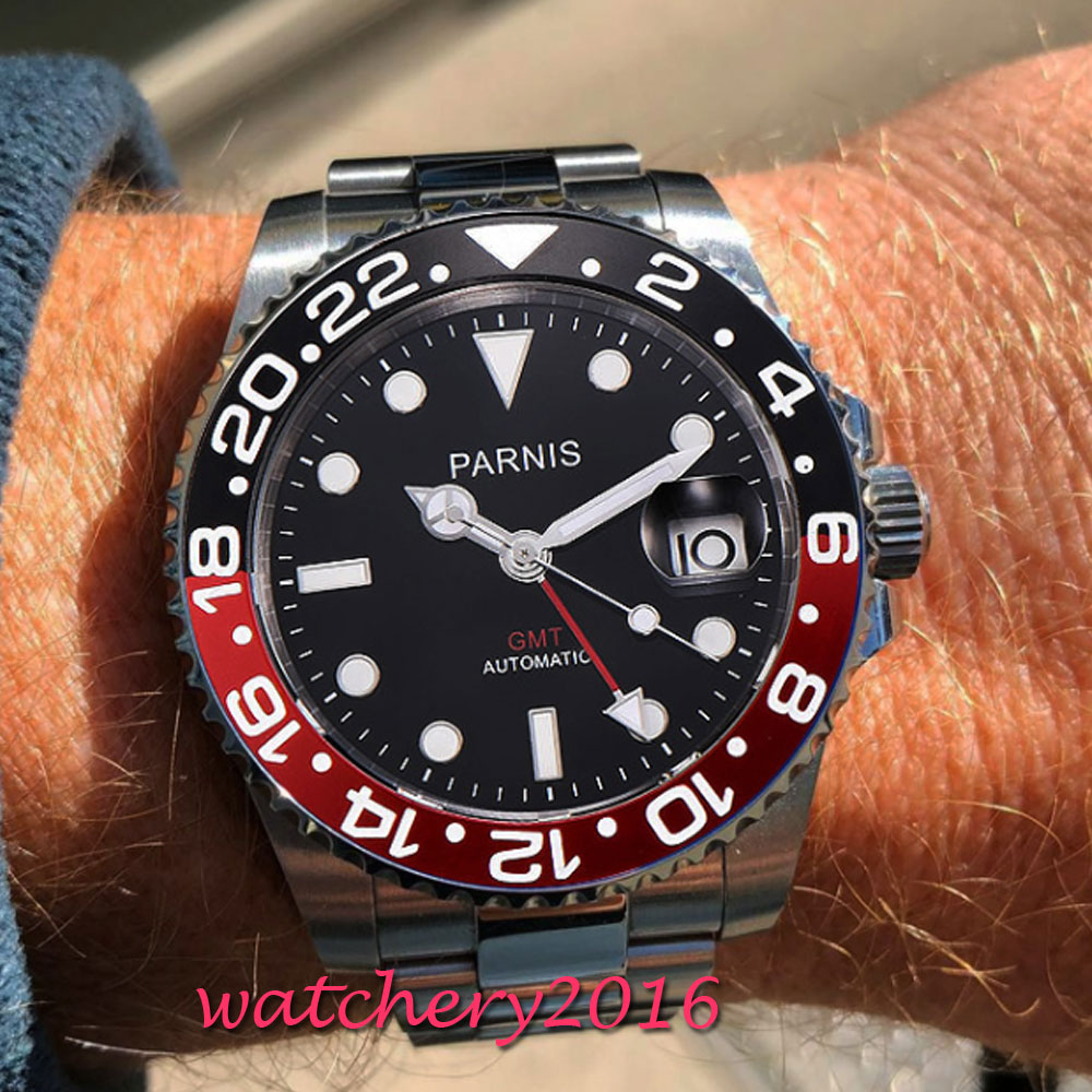 40mm Parnis Black Dial Mechanical Watches Black Red Bezel GMT Diver Watch Men Full Stainless Steel Sapphire Automatic Watch relojes full stainless steel men s sprot watch black and white face vx42 movement