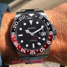 40mm Parnis Black Dial Mechanical Watches Red Bezel GMT Diver Watch Men Full Stainless Steel Sapphire Automatic