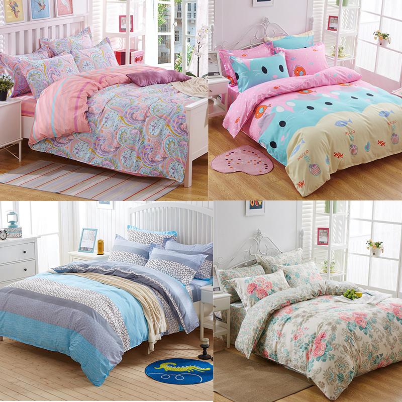 4pcs twin full queen king size bed quilt duvet doona cover for King shams on queen bed