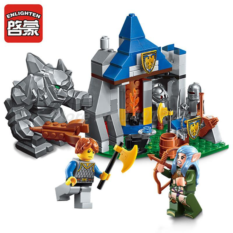 ENLIGHTEN 134Pcs Giant Attack Camp Building Blocks The War Of Glory Series Classic Bricks DIY Toys For Boy Birthday Gifts enlighten building block war of glory castle knights ent witchclaw 3 figures 131pcs educational bricks toy boy gift