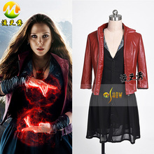 Avengers: Age of Ultron Scarlet Witch Costume Women Sexy Black Dress + Coat +Wrists Cosplay Custom Made