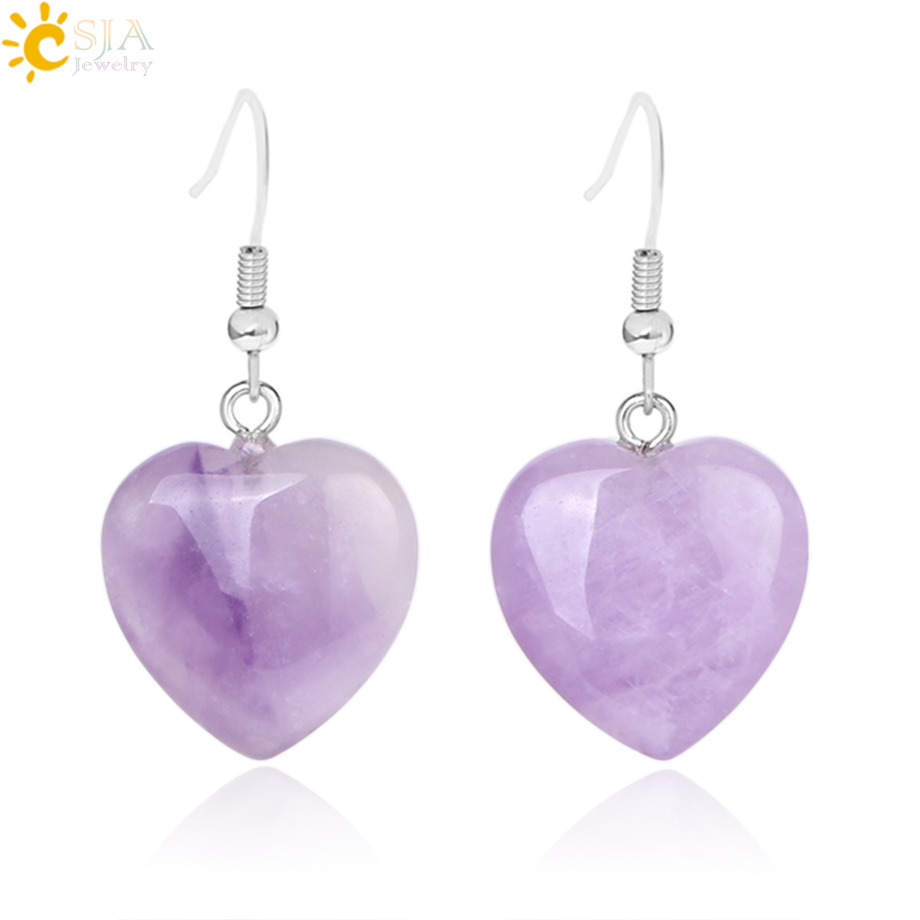 Amethyst Rose Quartz Natural Stone Hexagonal Healing Point Crystal Dangle Earrings
