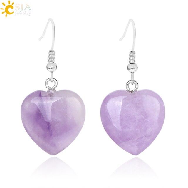 CSJA, серьги из натурального камня, серьги с подвеской в виде сердца, фиолетовые кварцевые серьги-подвески с тигровым глазом, женские свадебные украшения, горячая распродажа, F315