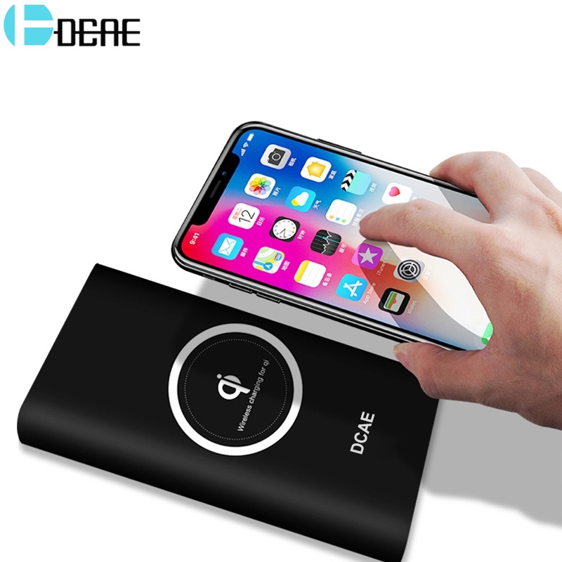 DCAE Qi Wireless Charger 10000mAh Power Bank For iPhone XS Max XR X 8 Samsung S9 S8 Usb Powerbank Mobile Phone External Battery