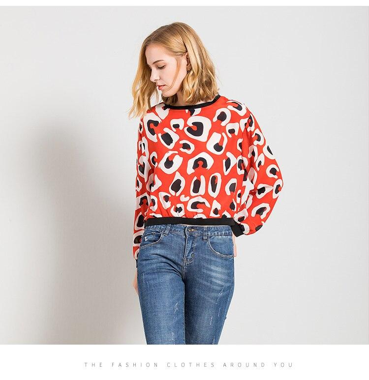 Lose seide T shirt pullover weibliche 2018 neue frühling silk druck große langärmelige T shirt - 4