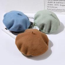 Nuevo estilo francés boina de lana mujeres clásico de Color sólido sombreros  de invierno para las d7d38da8ec2