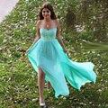 Dividir side contas azul hortelã prom 2017 chiffon dress para a graduação vestido de festa vestido de verão
