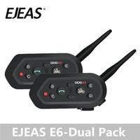 Dual Pack EJEAS E6 Intercomunicador Moto VOX Bluetooth Intercom Helmet Headset Motorbike Auriculares GPS MP3 for 2 Riders