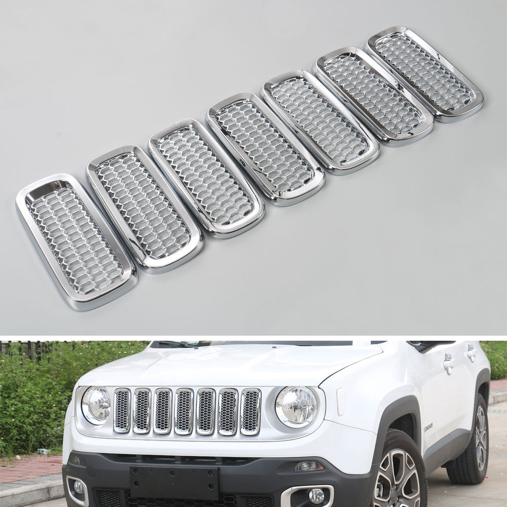 BBQ@FUKA 7pcs ABS Silver New Car Front Grill Grille Cover Frame Insert mesh Trim Ring Car styling For Jeep Renegade 2015 2016 bbq fuka 2pcs car aluminum abs silver luggage carrier top roof rack cross bars fit for compass 2017 car styling car accessories