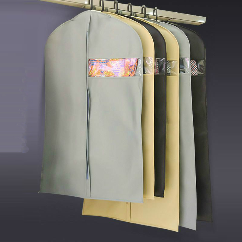 Clothes Dust Cover Non-woven Fabric Storage Hanging Bag With Zipper For Garment Shirt Coat Jacket Suit Organizer AFY002