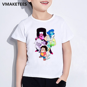 Kids Summer Girls&Boys Short Sleeve T shirt Children Cartoon Steven Universe Character Print T-shirt Funny Baby Clothes,ooo5053(China)