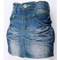 Wrap Blue Denim Skirt 3-7Y Girls Rhinestone Crystal button skintight kids slinky fitted MH5950