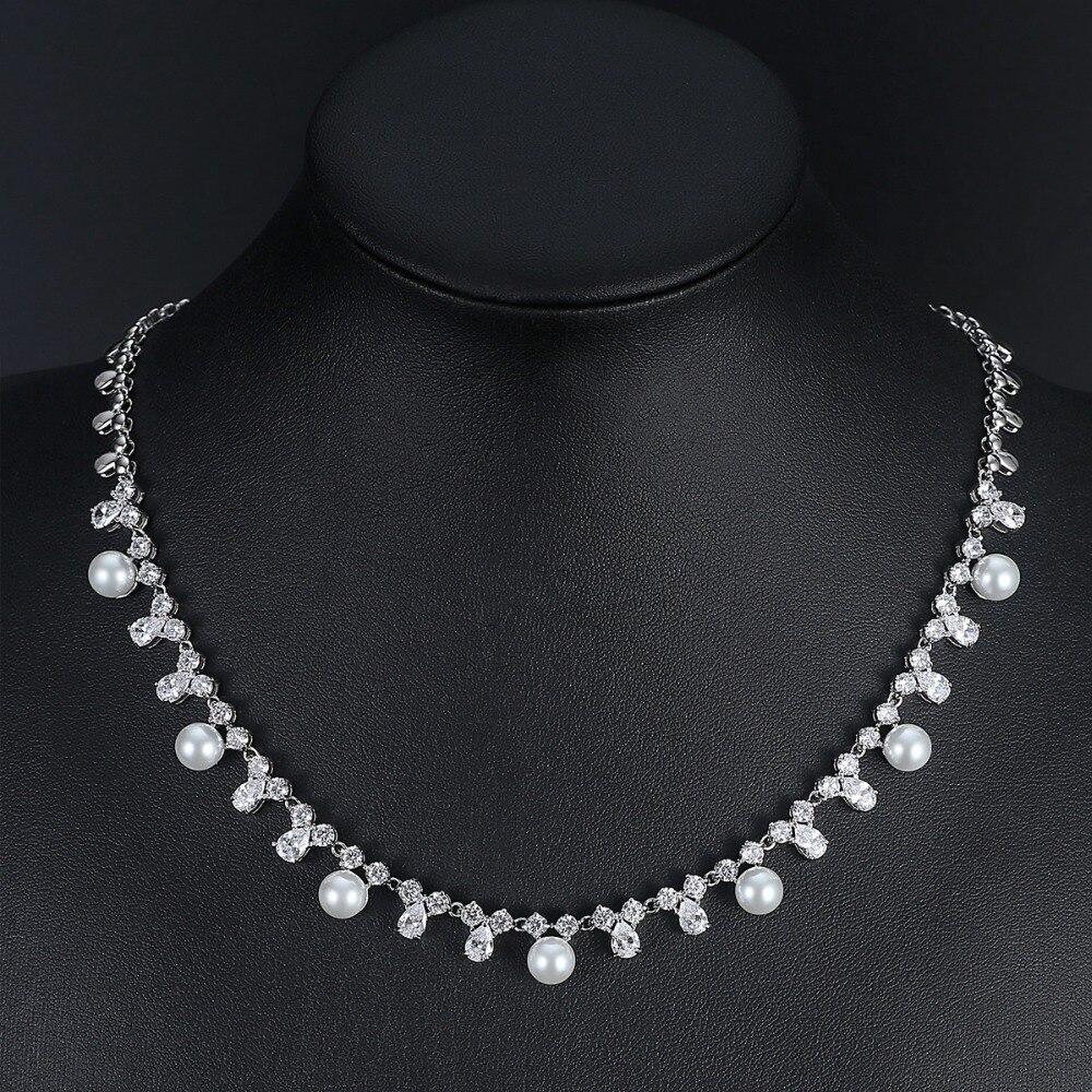 LUOTEEMI Créé Perles De Mariée Bijoux Ensembles Collier Boucle D'oreille Pour Les Femmes Nobel Style De Mariage Accessoires Décoration Cadeau - 3