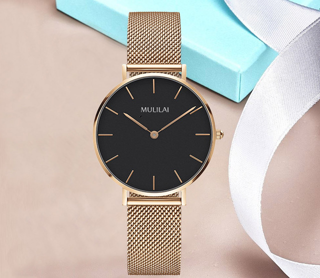 2018 New Luxury Brand Quartz Watch Fashion Women Rose Gold Steel Bracelet Watch dw watch style Rhinestone Ladies Dress Watch